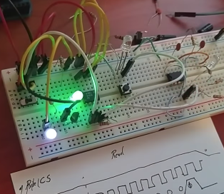 Circuit on a breadboard
