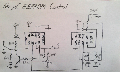 Circuit diagram showing the connections between the EEPROM and the 555 timer chip